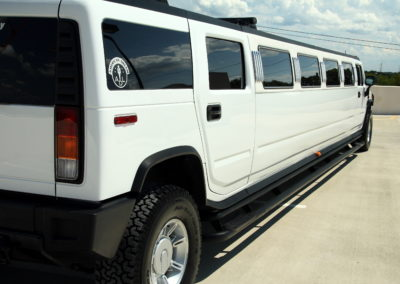 Back view 20 passenger hummer limo white